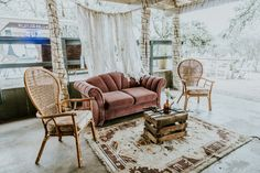 Pink Couch, Rug, Brown Wicker Chair, Crate Table P. Table Pc, Crate Table, Pink Couch, Tree Lighting, Twinkle Lights, Crates, Wicker, Wedding Venues, Rug