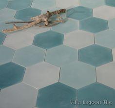 Mixed Aqua Hex Cement Tile, from Villa Lagoon Tile.