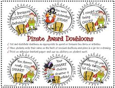 This year I plan to pass out pirate doubloons as rewards to my CREW members. These can be saved and used once enough have been collected. Pirate Decor, Pirate Crafts, Pirate Theme, Pirate Birthday, Classroom Rewards, Classroom Themes, Classroom Management, Behavior Management, Classroom Behaviour