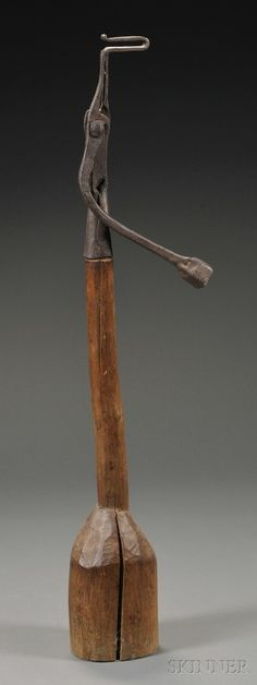 Wrought Iron and Carved Wood Splint/Rush Light Stand, 18th century