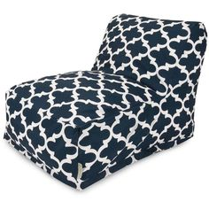 Majestic Home Goods Trellis Bean Bag Lounger Upholstery Navy
