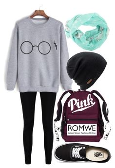 """""""Romwe Harry Potter Sweatshirt"""" by horselover35125 ❤ liked on Polyvore featuring Boohoo, Vans, Disney, Coal, harrypotter and shein"""