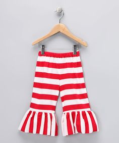 Red Stripe Ruffle Pants by Sweet Petunia
