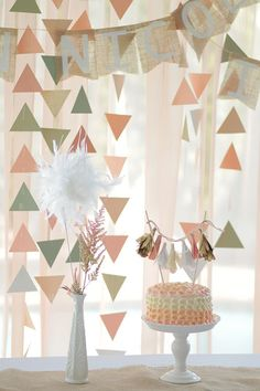 Pretty handmade decorations for a peachy birthday party