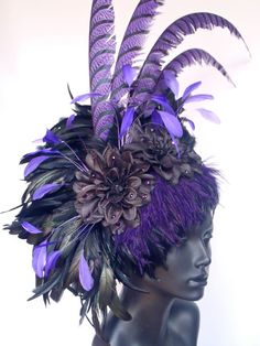 SOLD Purple & Black Feather Headdress. $300.00, via Etsy.