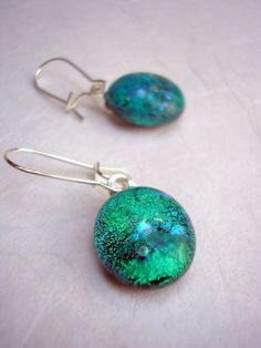 Dichroic Glass Jewelry Fused Glass Earrings Sea Green Silver Kidney Earwires