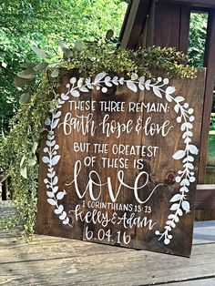 These Three Ramain Faith Hope Love Sign Rustic Wood Wedding Signs Corinthians Wedding Sign Wood Wedding Decor Rustic Home Decor Anniversary - Corinthians Sign Rustic Wedding Decor by SalvagedChicMarket - Chic Wedding, Wedding Table, Perfect Wedding, Fall Wedding, Dream Wedding, Godly Wedding, Wedding Prayer, Trendy Wedding, Church Wedding Decorations Rustic