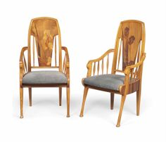 A PAIR OF LOUIS MAJORELLE (1859-1926) MARQUETRY AND CARVED ARMCHAIRS WITH SWANS HEADS -  CIRCA 1900
