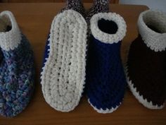 My teacher-friend's mom makes the best crocheted adult booties -- I hope to learn to make them