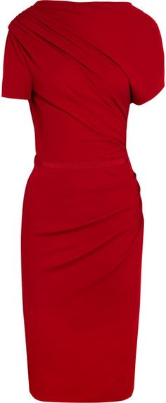 Giambattista Valli Asymmetric Ruched Crepejersey Dress dita Von Teese