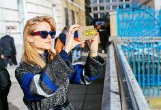 Pernille Teisbaek at London Fashion Week Fall 2015 wearing a Mantù coat