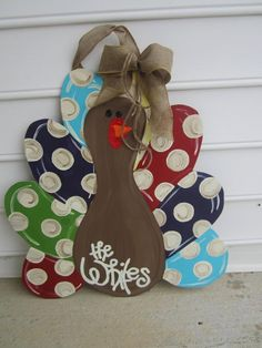 Turkey door hanger polka dot funky thanksgiving door by paintchic