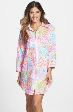 RALPH LAUREN Cotton Lawn Sleep Shirt Delray Floral Multi $52