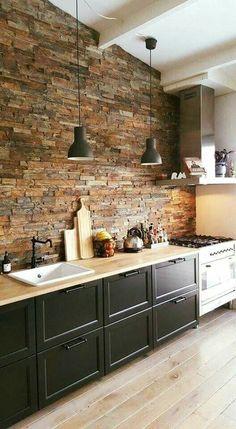 Home Decor Kitchen, Interior Design Kitchen, New Kitchen, Kitchen Ideas, Modern Interior, Kitchen Inspiration, Stone Kitchen, Kitchen Layout, Modern Luxury