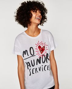 T-SHIRT WITH SLOGAN AND SEQUINNED HEART - Available in more colours