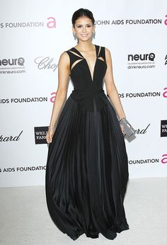 Cosmo cover girl Nina Dobrev in J. Mendel at Elton John's 20th Annual AIDS Foundation Academy Awards Viewing Party