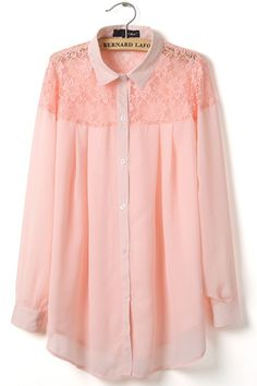 2014 Spring & Summer New Section Lace Hollow Chiffon Long Sleeve Blouse