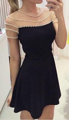 Pearl round neck black dress