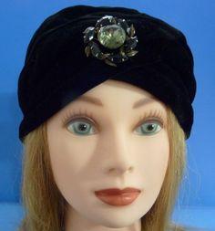 Vintage ESTATE Women's Black Velvet Turban Hat With Rhinestones #Turban
