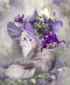 Oh How fancy this cat In her Easter lilac hat With colored eggs In purple, pinks and blue All of them sparkling with jewels Lavender ribbons and feathers everywhere Oh, look There's a bouquet of lilacs Also growing up there And what is that Sitting on the brim Why it's a little lavender birdie Who thinks it's a cat Wearing its own fancy Easter hat. Cat In Easter Lilac Hat prose by Carol Cavalaris A very fancy lavender and white cat wearing a whimsical decorated Easter hat by Carol Cavalaris.