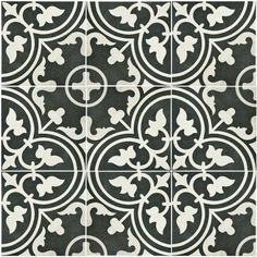 Merola Tile Arte Black 9-1/2 in. x 9-1/2 in. Porcelain Floor and Wall Tile (10.76 sq. ft. / case)-FCD10ARB - The Home Depot