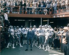 Tom Landry and team in Orange Bowl before Super Bowl 10