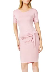 LE3NO Womens Slim Fit Short Sleeve Knotted Bodycon Midi Dress