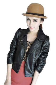 Superbaby Womens Faux Leather Cropped Jacket Coat Zip SX
