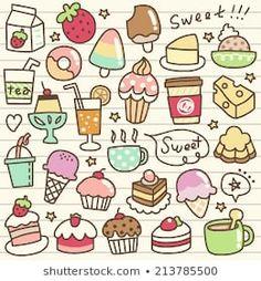 Vetor stock de Chocolate Dessert Collection Chocolate Cherry Cakes (livre de direitos) 783399049 - Shutterstock Cute Food Drawings, Kawaii Drawings, Doodle Drawings, Easy Drawings, Doodles Kawaii, Food Doodles, Cute Doodles, Cute Doodle Art, Cute Art