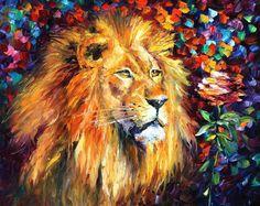 Animals Painting  Lion  PALETTE KNIFE Figure by AfremovArtStudio