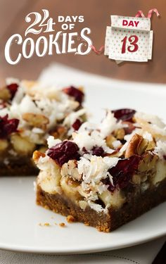No time for gingerbread men this year? These super-simple flavorful gingerbread bars to the rescue! The topping is a decadent mixture of sweetened condensed milk and vanilla baking chips, and it's all topped off with tart cranberries, sweet coconut and crunchy pecans. Pro tip: For quicker cleanup—and an easier time getting the bars out of the pan—line the pan with foil instead of cooking spray!