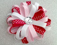 Valentine's Hair Bow Loopy for Dots in Shades of Pink for Baby or Toddler with FREE headband