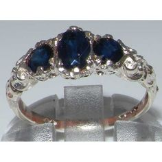 Ladies Solid White 10K Gold Natural Sapphire English Victorian Trilogy Ring – Size 8 – Finger Sizes 5 to 12 Available – Ideal gift for Valentines, Mothers Day, Birthday, Christmas, Thanksgiving, Graduation, Confirmation, Easter http://www.easterdepot.com/ladies-solid-white-10k-gold-natural-sapphire-english-victorian-trilogy-ring-size-8-finger-sizes-5-to-12-available-ideal-gift-for-valentines-mothers-day-birthday-christmas-thanksgiving-gradu/ #easter  One centre oval cut 6×4 mm (0.24″..