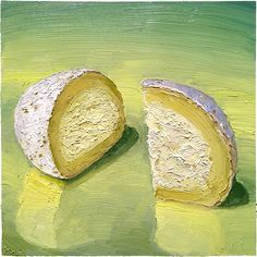 """""""Cloud Nine"""" is a wonderful ball of goat cheese heaven by Yellow Springs Farm, in Pennsylvania - near Philadelphia.   10x10"""" oil on wood, available for sale! mikegeno.com"""