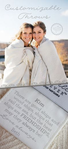 Forever Blanket® by Swell Forever. American Made, uniquely personalized fabric message tags, monograms available. Support our mission to help children in foster care. The perfect heirloom gift for bridesmaids, weddings, couples, anniversaries, birthdays, retirement, babies, graduation, Mother's and Father's Day, loss and grief, cancer survivors, infant loss, sympathy, and housewarmings.