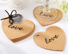 Heart Cork Wedding Coasters are a fun and useful wedding or bridal shower favor that your guests will truly appreciate. Heart Cork Coasters include four coasters made from cork with the word Creative Wedding Favors, Wedding Shower Favors, Unique Wedding Favors, Baby Shower Favors, Party Favors, Wedding Reception, Wedding Summer, Shower Party, Wedding Ideas