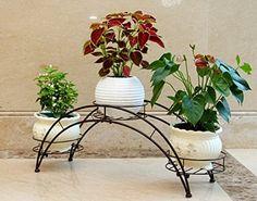 AISHN Elegant Arch Design Black Metal Plant Stand / Flower Pots Shelf Unit / Decorative Planter Stand with 3 holders Potted Plant Rack Organizer (Black)