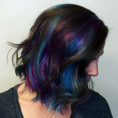 L'Oreal Professionnel Artist, Corene Hess in Fort Worth: oilslick hair; Pravana; purple, blue, emerald, magenta hair; edgy hair color
