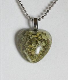 White Sage in heart shaped Resin Pendant Purification by GreyGyrl, $12.00