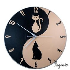 HORLOGE YIN ET YANG CHAT ET CHIEN - Boutique www.magicreation.fr