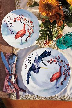 bird, table settings, avian canopi, dinner plates, anthropologie, dinners, sweet november, thanksgiving table, canopies