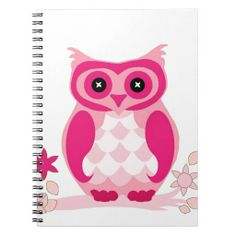 Cute Pink Owl on a Limb with Flowers Notebook