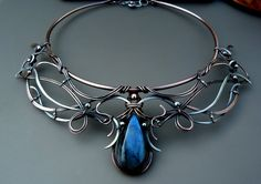 Dance Of The Spirits - Collar Necklace Handcrafted Mixed Metal Copper and Fine Silver with Labradorite