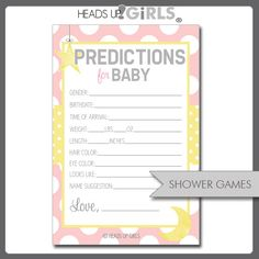 Digital Printable Moon and Stars Pink Yellow and Gray Predictions for Baby Shower Games by HeadsUpGirls, $8.00