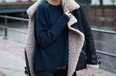 I love shearling coats! I have a black one with a dark taupe interior and it goes with EVERYTHING in negative to 50 degree weather!