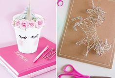Découvrez 10 DIY faciles et originaux de licorne pour la décoration de sa chambre et des items déco; tasse, broderie, pot de fleur, etc.