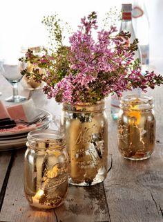 Gilded DIY mason jars, vases or votives.