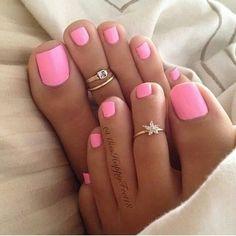 Toenail Polish Beach pedicure colors toe rings 48 ideas Wedding Invitation Wording for an Pink Summer Nails, Pink Toe Nails, Feet Nails, Nail Pink, Bright Toe Nails, Beach Toe Nails, Hot Pink Nails, Chevron Nails, White Nail