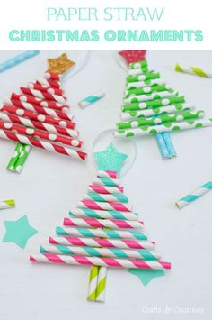 Easy DIY kids Christmas crafts - Decorative paper straw Christmas tree ornaments