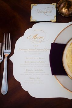 Elegant Gold and White Wedding with  Place-mats